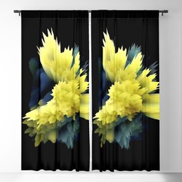 yellow indigo blue flower abstract 3d painting Blackout Curtain
