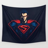 man of steel Wall Tapestries featuring Man of Steel by Steven Toang
