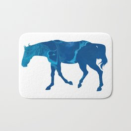 Dark Blue Marble Thoroughbred Horse Silhouette Bath Mat