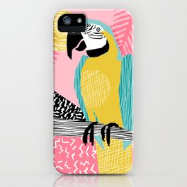 Holy Moly - memphis throwback retro neon bird macaw tropical island pop art bird watching 1980s iPhone Case