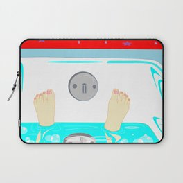 Soaking in the Tub with Red Wallpaper Laptop Sleeve