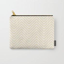 Coconut Cream Chevron Wave Stripe Carry-All Pouch