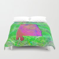 alabama Duvet Covers featuring Alabama Map by Roger Wedegis
