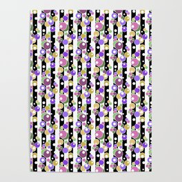 Colorful polka dots on black and white striped background . Poster