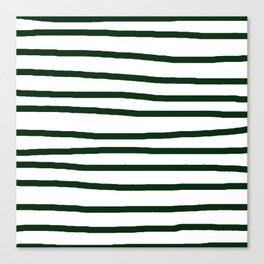 Simply Drawn Stripes in Pine Green Canvas Print