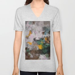 Modern Abstract Art in Brown, Green and Yellow Unisex V-Neck