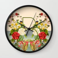 botanical Wall Clocks featuring Botanical by Blue Jean Genie