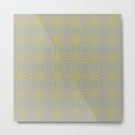 Simply Vintage Link in Mod Yellow on Retro Gray Metal Print