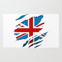 british flag Area & Throw Rugs featuring British Flag Pride by northside