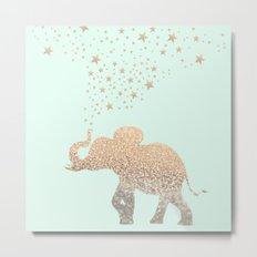 ELEPHANT - GOLD MINT Metal Print
