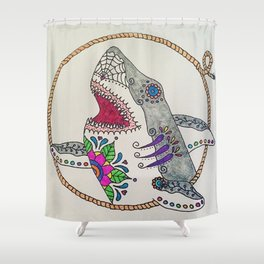 Day of The Dead Shark Shower Curtain