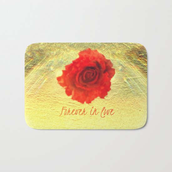 Forever in love red rose on  gold with rays  Bath Mat