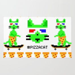"""""""Psychedelic Skateboarding Ugly Christmast Sweater Pixel Pizza Cat"""", by Brock Springstead Rug"""