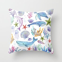 under the sea watercolor Throw Pillow