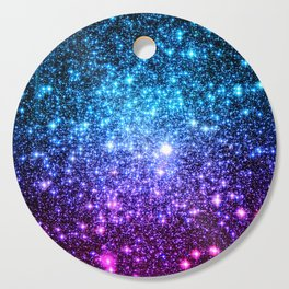 Glitter Galaxy Stars : Turquoise Blue Purple Hot Pink Ombre Cutting Board