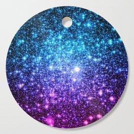 Glitter Galaxy Stars : Turquoise Blue Purple Hot Pink Ombre Cutting Board