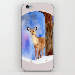Deer in Forest Winter Painting iPhone Skin
