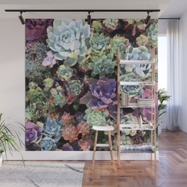 Colorful Succulents Low Poly Geometric Triangles Wall Mural