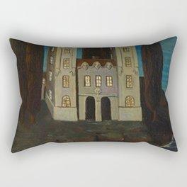 'La baie de la mer' - House on the Lake landscape painting by Bolesław Biegas Rectangular Pillow
