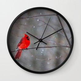 Cardinal In the Snow Wall Clock