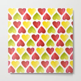 Apple colorful hearts pattern Metal Print