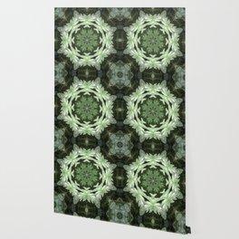 Tropical Twist - Green Leaves Kaleidoscope, Mandala Wallpaper
