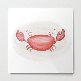 Watercolor Illustrated Red Crab Metal Print