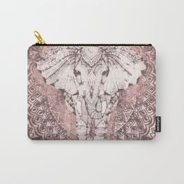 Bohemian, Elephant, Mandala, Blush, Moon Carry-All Pouch