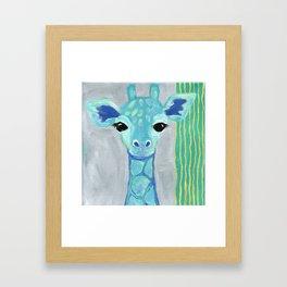 Giraffe Painting, Baby Giraffe, Blue Giraffe, Child's Room Decor, Gray Green Blue Art Framed Art Print