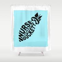 nurse Shower Curtains featuring NURSE DUCKETT by 3SCOOPS