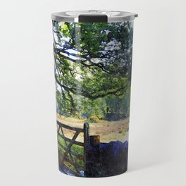 5 barred Gate and Oak in the Park, Lake District, UK. Watercolour Art. Travel Mug