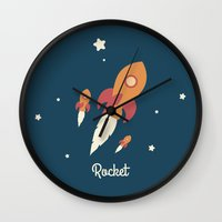 rocket Wall Clocks featuring Rocket by Jane Mathieu