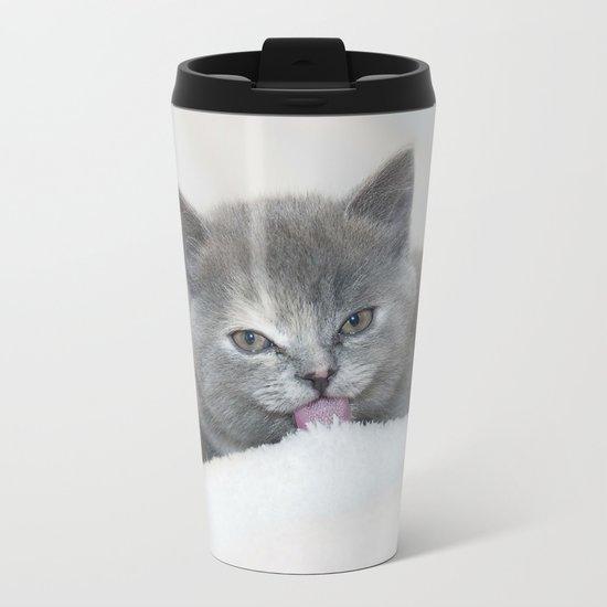 Snow Kitten Metal Travel Mug