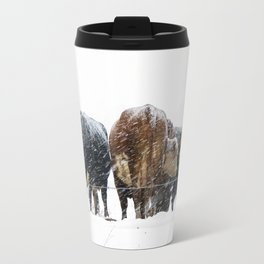 Cattle in a Snowstorm in SouthWest Michigan Travel Mug