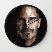 steve jobs Wall Clocks featuring Steve Jobs by Misha Libertee