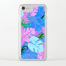 Monstera and Lizards in Blue Clear iPhone Case