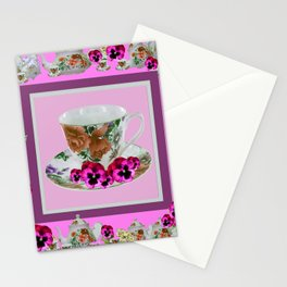 CERISE PANSY FLOWERS ANTIQUE TEA POTS & CUPS Stationery Cards