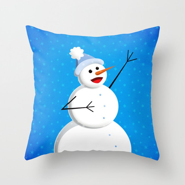 Blue Happy Singing Snowman Throw Pillow