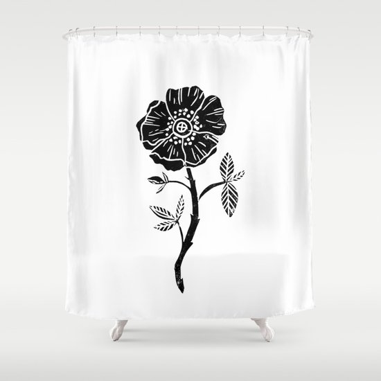 Linocut Rose Floral Single Stem Flower Black And White Printmaking Shower Curtain By Monoo