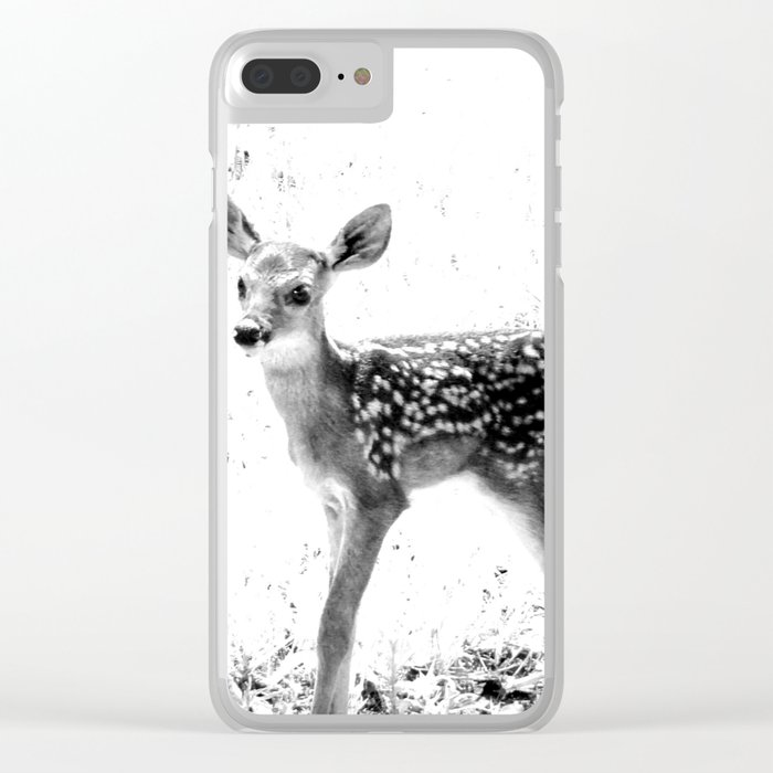 The Sweetest fawn Black & White Clear iPhone Case