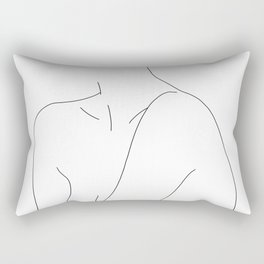 Woman's shoulders line drawing illustration - Dacia Rectangular Pillow