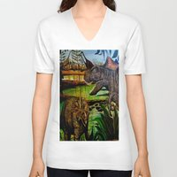 dinosaurs V-neck T-shirts featuring DINOSAURS by shannon's art space