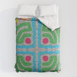 Square Stamp Multi Blue Comforters