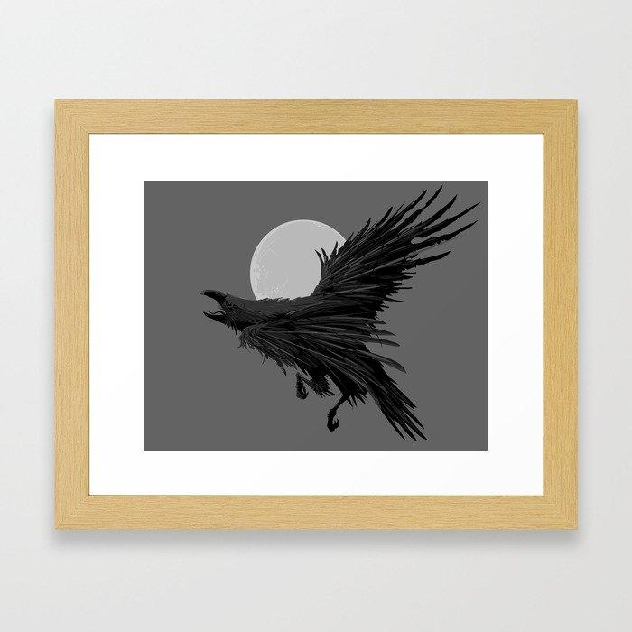 Crow & Moon Framed Art Print
