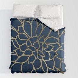 Floral Prints, Line Art, Navy Blue and Gold Comforters