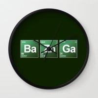 bazinga Wall Clocks featuring Breaking Bazinga by dutyfreak