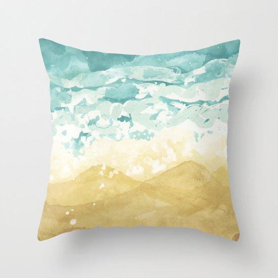 Minimalist Shore - Beach Painting Throw Pillow