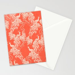 PEACOCK - coral Stationery Cards