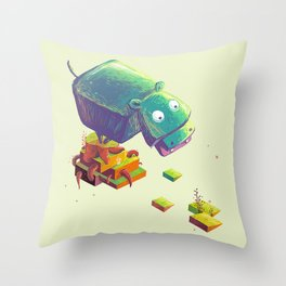 Lil Cube Hippo Throw Pillow