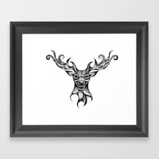 Henna Inspired Stag Head by Ashley-Rose Standish Framed Art Print
